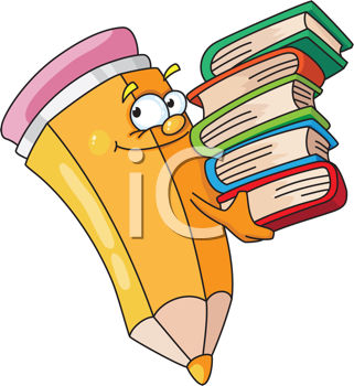 Royalty Free Clipart Image of a Pencil With Books