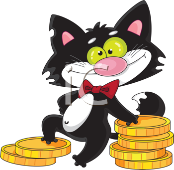 Royalty Free Clipart Image of a Cat With Money