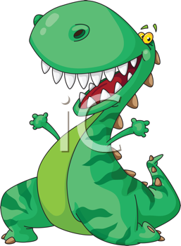 Royalty Free Clipart Image of a Green Dinosaur
