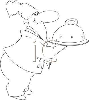 Royalty Free Clipart Image of a Chef With a Domed Tray