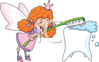 Royalty Free Photo of a Tooth Fairy Cleaning a Tooth