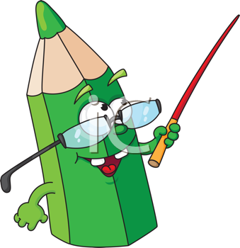 Royalty Free Clipart Image of a Green Pencil With Glasses and a Pointer