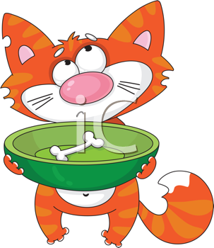 Royalty Free Clipart Image of a Hungry Cat Holding a Bowl