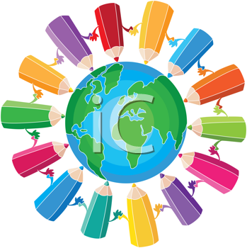 Royalty Free Clipart Image of Pencils Around the World