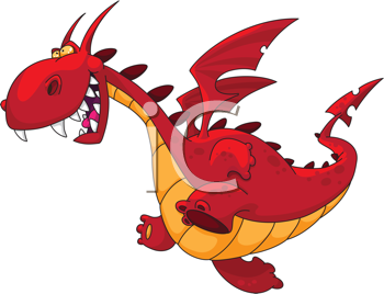 Royalty Free Clipart Image of a Running Dragon
