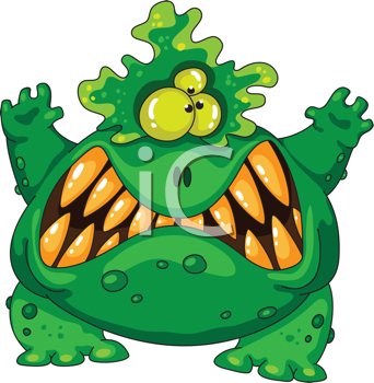 Royalty Free Clipart Image of a Green Monster