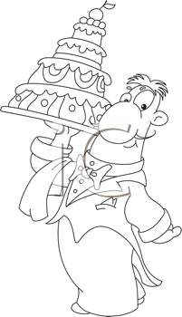Royalty Free Clipart Image of a Waiter With a Cake