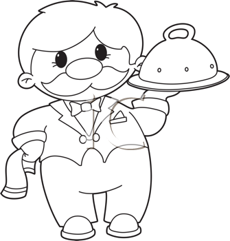Royalty Free Clipart Image of a Waiter With a Domed Tray