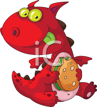 illustration of a dragon eating