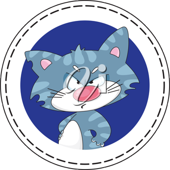 illustration of a angry cat blue banner