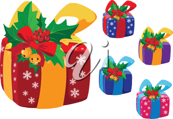 illustration of a Christmas gifts box and holly