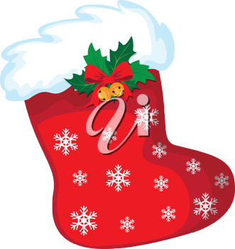 illustration of a Christmas stocking and snow