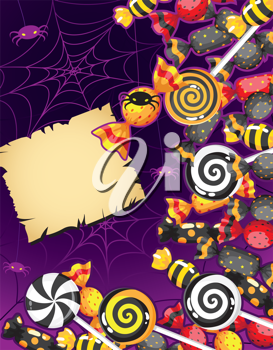 illustration of a Halloween candy card