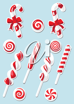illustration of a set of Christmas candy sticker