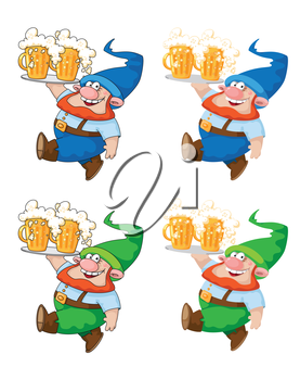 illustration of a walking gnome with beer