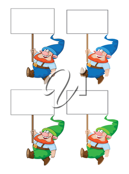 illustration of a walking gnome with blank sign