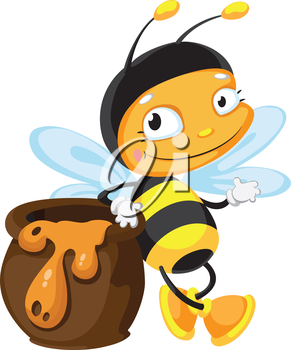 illustration of a bee with pot