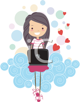 Royalty Free Clipart Image of a Girl With Hearts Sitting on a Cloud With a Laptop