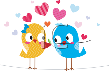 Royalty Free Clipart Image of a Bird Giving Another Bird a Flower
