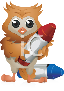 Royalty Free Clipart Image of an Owl With Crayons