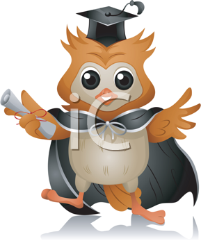 Royalty Free Clipart Image of a Graduate Owl