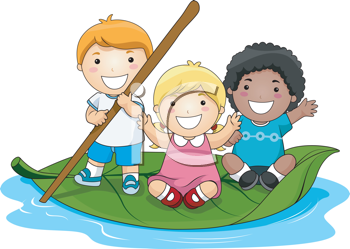 Royalty Free Clipart Image of Children Floating on a Leaf