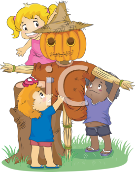 Royalty Free Clipart Image of Children Making a Scarecrow