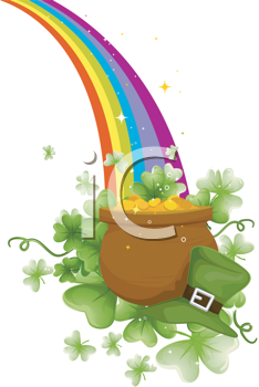 Royalty Free Clipart Image of a Pot of Gold at the End of the Rainbow