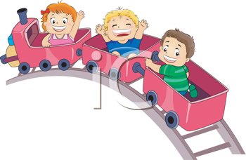 Royalty Free Clipart Image of Children on an Amusement Park Ride