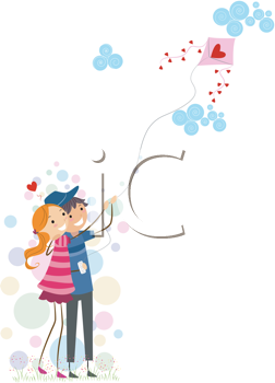 Royalty Free Clipart Image of a Couple Flying a Heart Kite