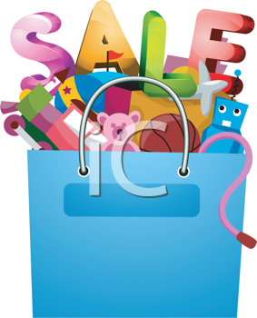 Royalty Free Clipart Image of a Bag With Toys and the Word Sale