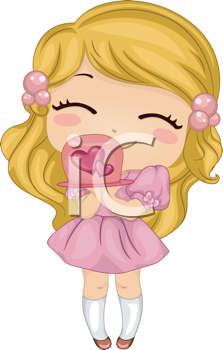 Royalty Free Clipart Image of a Girl With a Valentine Cake