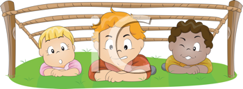 Royalty Free Clipart Image of Children Under a Wooden Frame