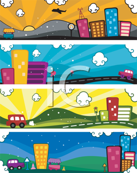 Royalty Free Clipart Image of a Set of Urban Banners