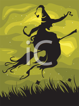 Royalty Free Clipart Image of a Silhouette of a Witch on a Broomstick