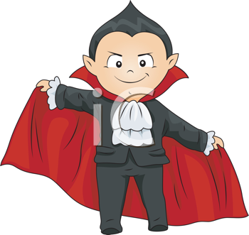 Royalty Free Clipart Image of a Boy in a Vampire Costume
