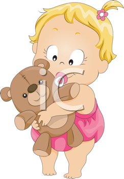 Royalty Free Clipart Image of a Girl With a Teddy Bear