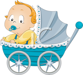 Royalty Free Clipart Image of a Baby Boy in a Buggy