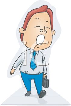 Royalty Free Clipart Image of a Sleepy Man Walking With a Briefcase