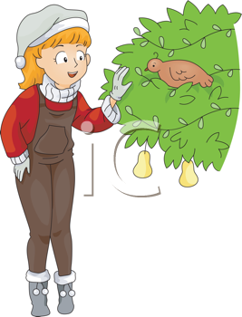Royalty Free Clipart Image of a Woman Looking at a Bird in a Pear Tree