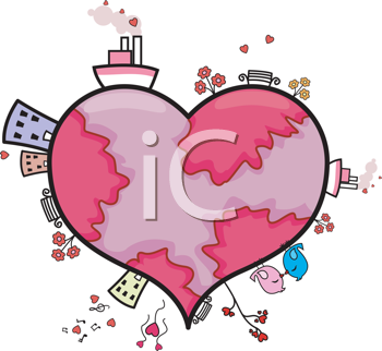 Royalty Free Clipart Image of Buildings and Ships on a Heart