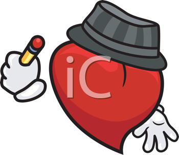 Royalty Free Clipart Image of a Heart With a Pencil