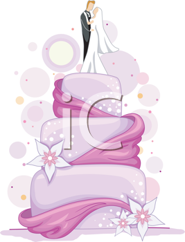 Royalty Free Clipart Image of a Wedding Cake With a Bride and Groom