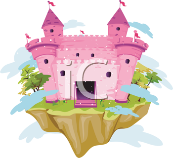 Royalty Free Clipart Image of a Pink Castle