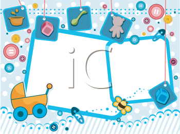 Royalty Free Clipart Image of a Baby Themed Frame