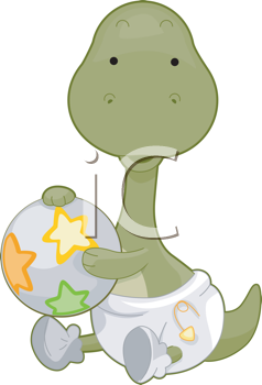 Royalty Free Clipart Image of Cute Baby Brontosaurus Holding a Ball