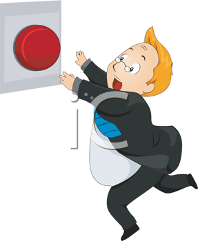 Royalty Free Clipart Image of a Man Running to a Panic Button