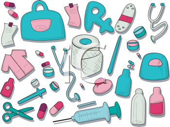 Royalty Free Clipart Image of Medical Items