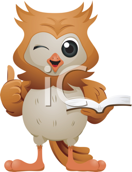 Royalty Free Clipart Image of an Owl Giving a Thumbs Up