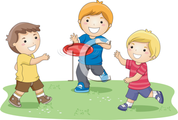 Royalty Free Clipart Image of Children Playing Frisbee